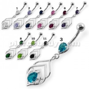 Tear Drop Jewel in Lotus Leaf Belly Button Ring