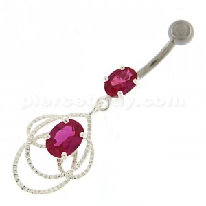 Multi Jeweled Joining Ring with stone Belly Button Ring