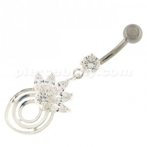 Round Circle with Crown Dangling Belly Ring