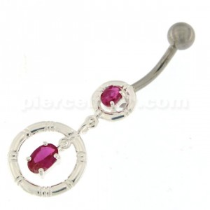 Jeweled Rounder with Stripes Dandling Navel Belly Ring