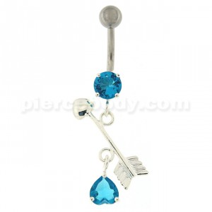 Arrow with Heart Dangling Belly Button Ring