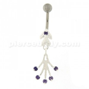 Jeweled Chandelier Dangling Belly Button Ring