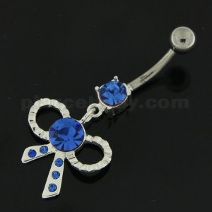 Simple Jeweled Tie Bow Silver Belly Button Ring