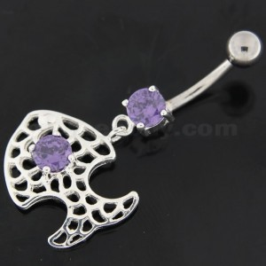 Center Jeweled Fish Navel Belly Button Ring