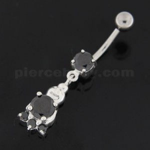 Big Jeweled Panda Bear Navel Belly Button Ring