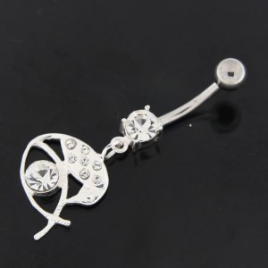 Jeweled Eye with Sparrow Navel Belly Button Ring