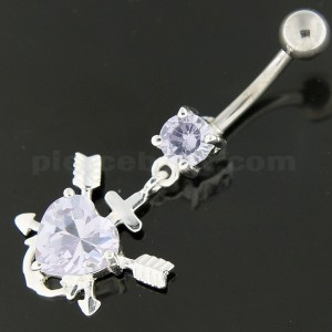 Dangling Multi jeweled Anchor in Heart Navel Belly Ring