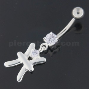 Fancy Jeweled Sterling Silver Navel Belly Button Ring