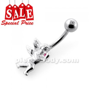 Baby Angel with Heart Navel Belly Bar
