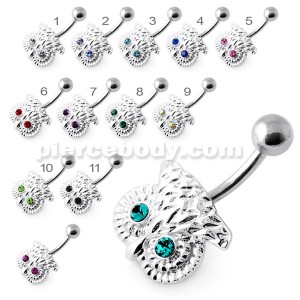 Crowned Owl Silver Navel Belly Bar