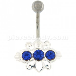 Tri Jeweled Tribal Design Navel Belly button Piercing