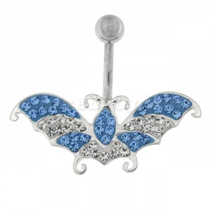 Multi Jeweled Flying Butterfly Navel Belly button Piercing