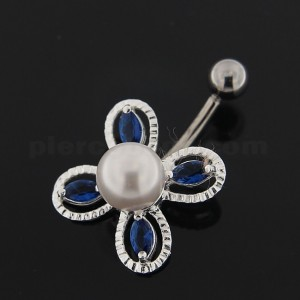 Jeweled Bow with Pearl Navel Belly button Piercing