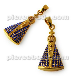 Virgin Mary Jeweled Pendant
