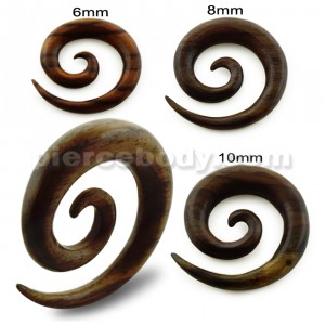 Organic Sono Wood Spiral Ear Expander Gauges