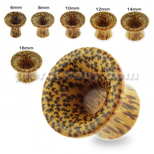 Organic Palm Wood Single Flared Round Ear Plug Gauges