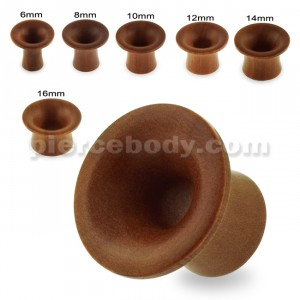 Organic Saba Wood Single Flared Round Ear Plug Gauges