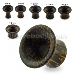 Organic Dark Palm Wood Single Flared Round Ear Plug Gauges
