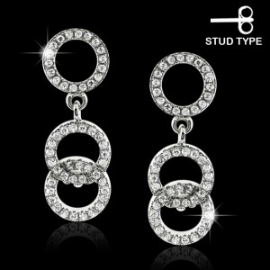 925 Sterling Silver Dangling Casting Round cubic zirconia Stud Ear Ring