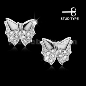 925 Sterling Silver Micro pave CZ Butterfly Stud Earrings