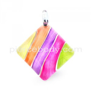 Multi Color Painted Angled Square Glass Pendant