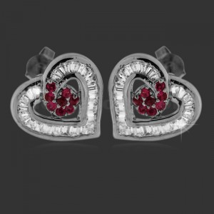 Heart Shape Center Red Micro Setting Stone Ear Stud