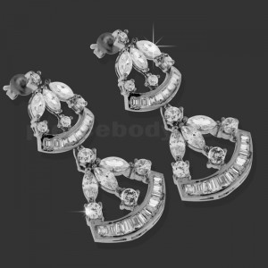 Clear Fancy Hanging Micro Setting Stone Ear Stud