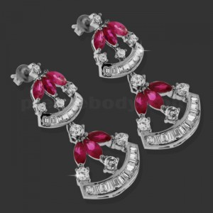Red Fancy Hanging Micro Setting Stone Ear Stud