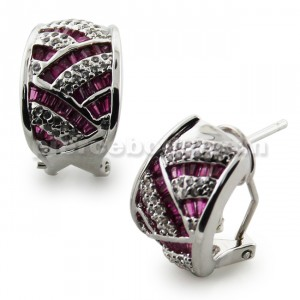 Micro Setting Purple Jeweled Ear Clip