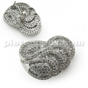 Floating Wave Micro Setting Jeweled Ear Clip