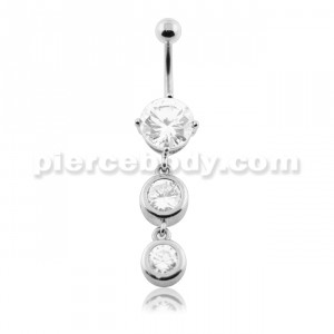 Dangling Bezel Set Round Jeweled Belly Button Ring