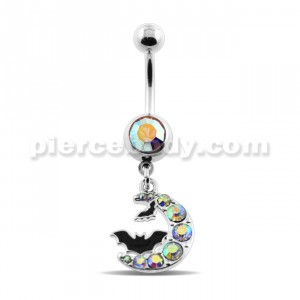 Dangling Batman Crescent Navel Belly Ring