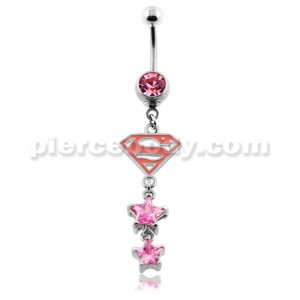 Superman with Pink Stars Belly Button Ring