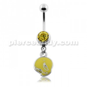Dangling Tweety Bird Navel Belly Ring