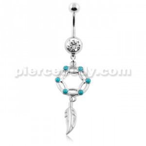 Turquoise Stone Dream Catcher Belly Button Piercing