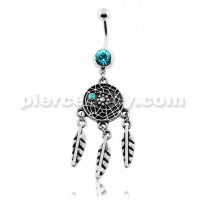 Turquoise Classic Dream Catcher Belly Button Piercing