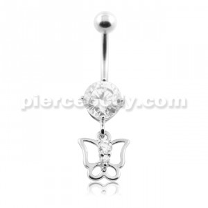 Jeweled Butterfly Cut out Belly Button Piercing