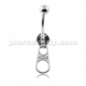 Dangling Jeweled Zipper Navel Belly Ring