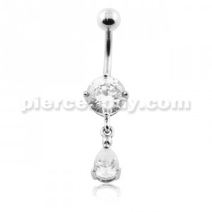 Jeweled Tear Hanging Belly Button Piercing