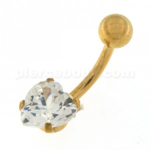 8mm Jeweled Heart Gold PVD over Surgical Steel Navel Belly Ring