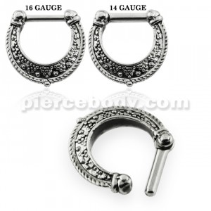 Dotted Pattern Oxidized Septum Clicker Ring