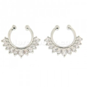 11 White CZ's Paved Clip on Non Piercing Fake Septum Ring