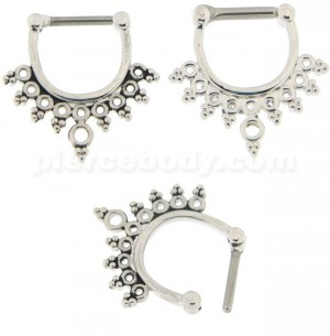 Multiple Holes with Tribal Dots Septum Clicker Piercing