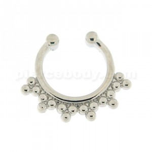Tribal Dots pattern Non Piercing Fake Clip on Septum Ring