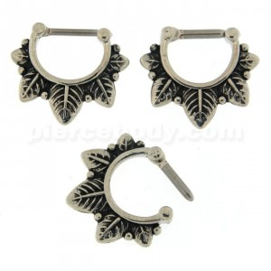 Multiple Leafs Nose Septum Clicker Piercing