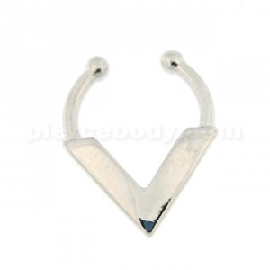 Plain V Shape Non Piercing Fake Clip on Septum Ring