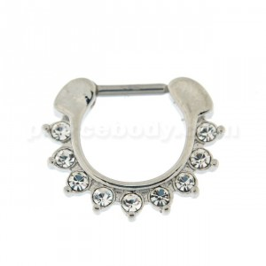 Single Line 9 CZ's Pronged Septum Clicker Piercing