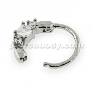 Square Center CZ with Gems Septum Clicker