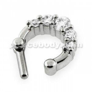 Five Pronged Clear CZs Septum Piercing Clicker Ring