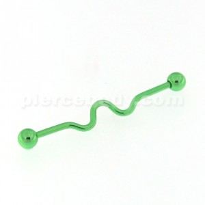 Light Green PVD Platted Industrial Barbell Piercing